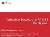 Application security and pa dss cer...