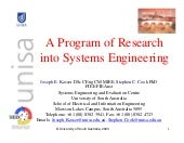 A program of research into systems ...