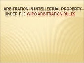 Arbitration under the WIPO rules