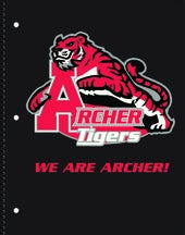 Archer HS Spiral-bound Notebook Black Background & Red Tiger Mascot