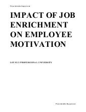 A report on impact of job enrichmen...