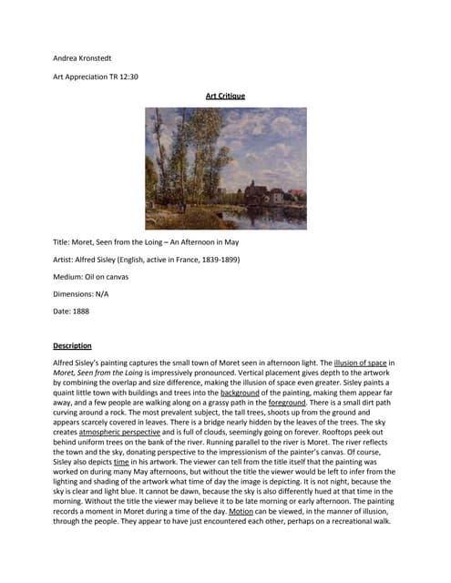 Art critique essay