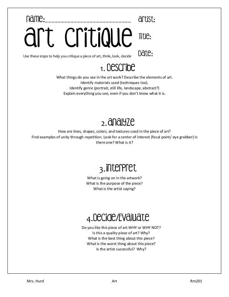 Worksheet Art Critique Worksheet art critique worksheet