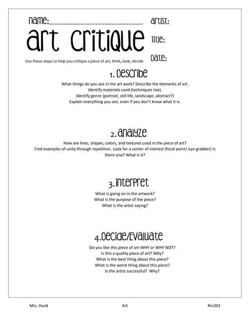 Printables Art Critique Worksheet art critique worksheet
