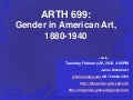Gender in American Art, 1880-1940