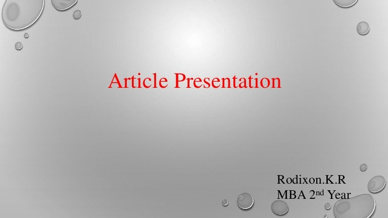 Article presentation