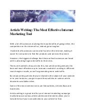 Article Writing: The Most Effective...