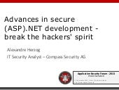 ASFWS 2013 - Advances in secure (AS...