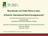 Rice Stocks and Trade Policy in Asi...