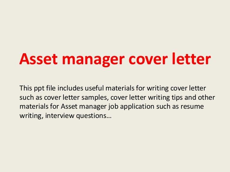 Asset Manager Cover Letter. Asset ...