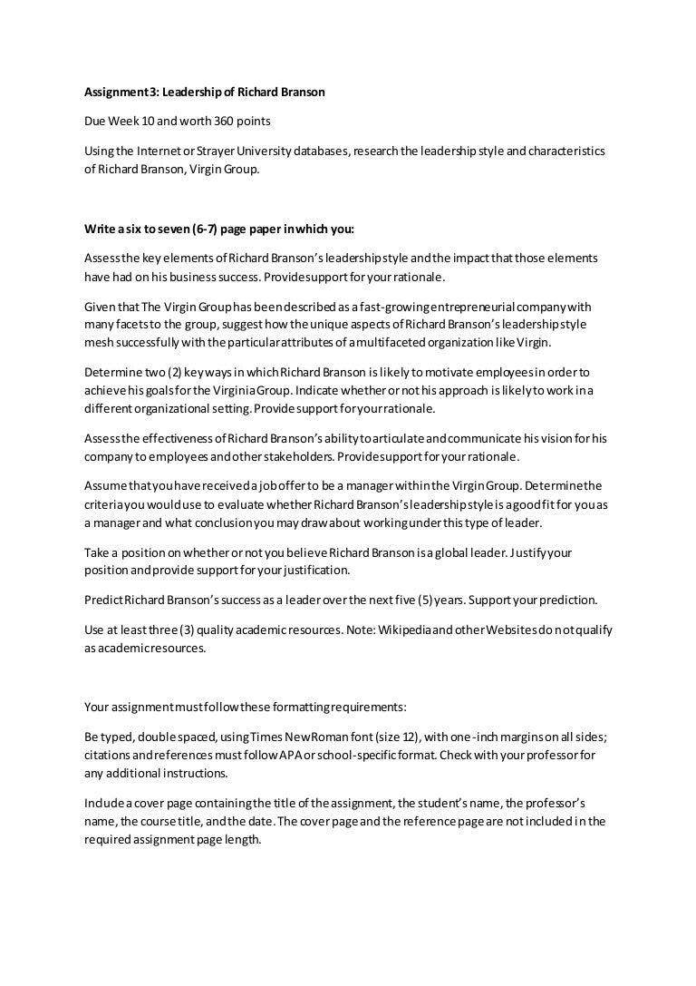 5 Page Essay On Leadership College Vs High School Essay Compare Assignment3  Leadershipofrichardbranson 150608141107 Lva1 App6891
