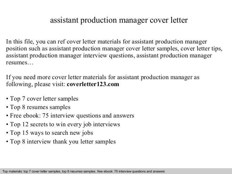 assistant production manager cover letter Assistant Cover Letter