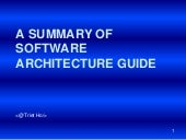 A summary of software architecture ...