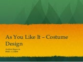 As You Like It - Costume Design