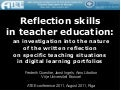 Reflection skills in teacher education