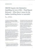 Australia DBCDE inquiry into Interactive Gambling act 2001 – final report released – what does it mean for the online gambling sector in australia  jamie nettleton addisons_ march 12 2013_focus papers.