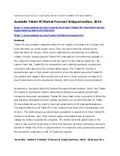 Australia tablet pc market forecast...