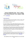 Autism child education   how to help your school educate your autistic child