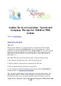 Autism services association   speech and language therapy for children with autism