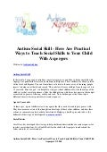 Autism social skill   here are practical ways to teach social skills to your child with aspergers
