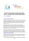 Autism treatment evaluation checklist   how to acquire self control with autism