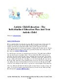 Autistic child education   the individualized education plan and your autistic child