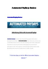 Automated paydays jamie shaw