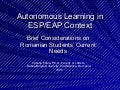 Autonomous Learning In English for Special Purposes