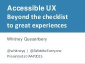 Accessible UX: Beyond the Checklist