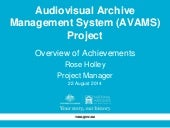 National Archives of Australia. AVAMS Project Achievements August 2014