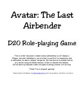 Avatar the last airbender d20 rpg