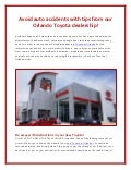 Avoid auto accidents: tips from Toyota of Orlando