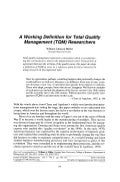 A working definition for total quality management (tqm) researchers