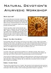 Ayurveda workshop manual