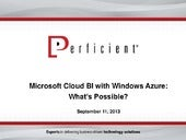Preparing for BI in the Cloud with ...