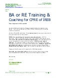 BA and RE Training and Coaching for CPRE exam of IREB
