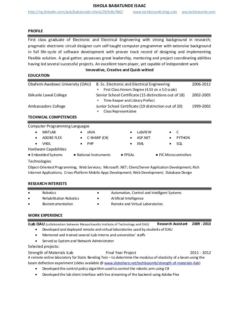 resume activities and interests