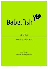 Babelfish Articles Sept 2013-Nov 20...