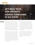 Optimize Your Non-Branded Search Campaigns in Six Steps