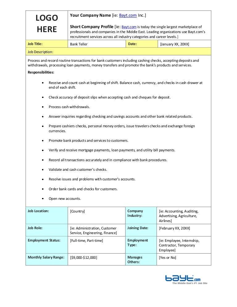 Teller Resume Samples VisualCV Resume Samples Database Personal Banker  Resume Personal Banker Resume Personal Banker Resume  Bank Teller Job Description