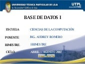 Base de Datos I (I Bimestre)