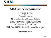 Small Business Programs in Federal ...