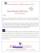 NLP Basic Practitioner Certificatio...