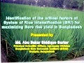 1509 - Identification of the Critical Factors of SRI for maximizing Boro rice yield in Bangladesh