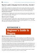 Beginners guide to blogging how to build a blog – episode 1