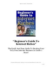 Beginners guide to internet riches
