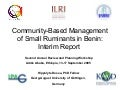Community-based management of small ruminants in Benin: Interim report