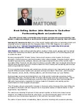Best selling author john mattone to co-author forthcoming book on leadership