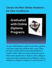 Best Online Institutes For Fake Certificates
