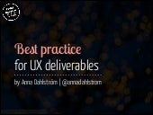 Best Practice for UX Deliverables - 2014